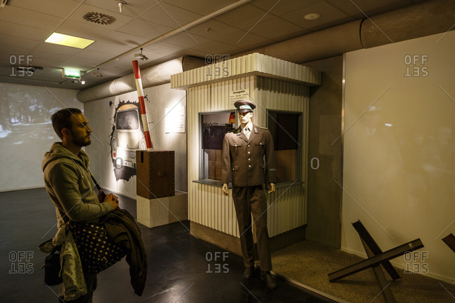 May 26, 2015: A man inside the Story of Berlin Museum, Charlottenburg, Berlin, Germany