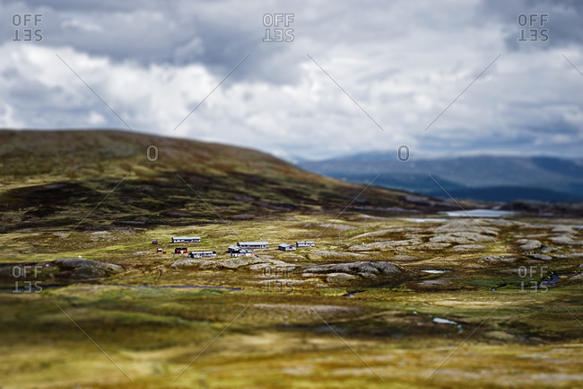 Houses in mountain landscape - Offset