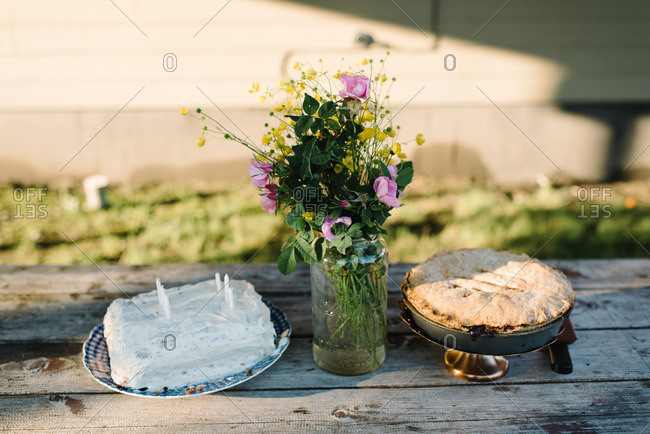 Desserts and fresh-picked flowers