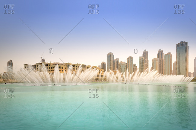 Fountain in the Burj Khalifa Lake with Souk Al Bahar