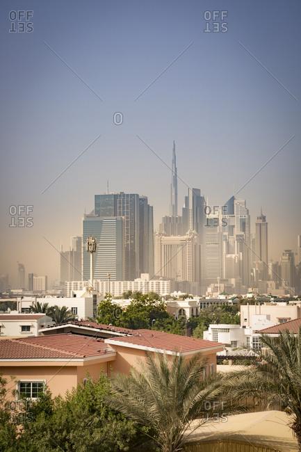 Skyline of Downtown Dubai in light sandstorm, Dubai