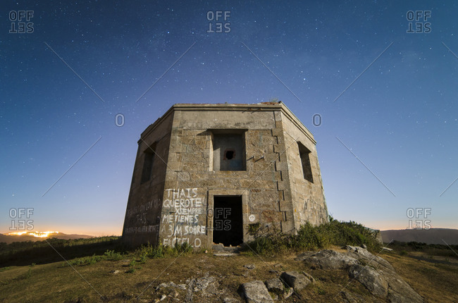 Ruins of a former military building at night, Ferrol