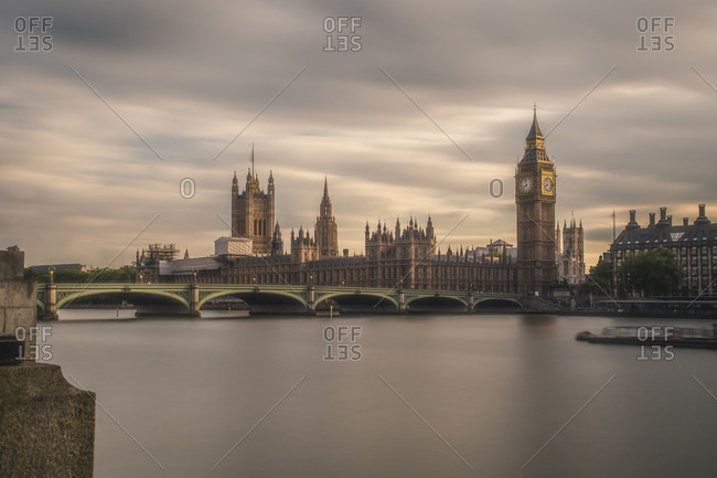 View to Westminster Bridge and Palace of Westminster with Big Ben, London