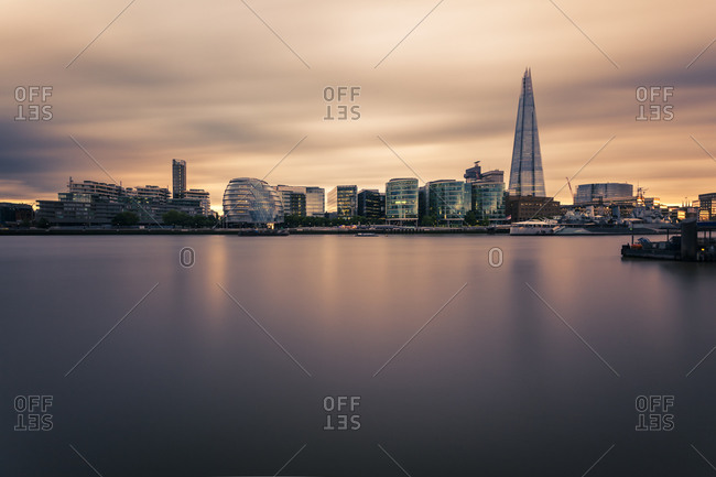 View to River Thames with modern office buildings in the background, London