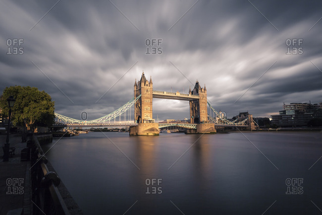 View to Tower Bridge at twilight, London