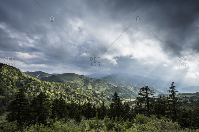 View of stormy skies from Mt. Yokoteyama, Japan