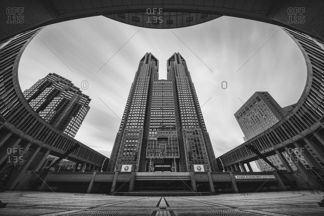 Ground level view of the Tokyo Metropolitan Government Building