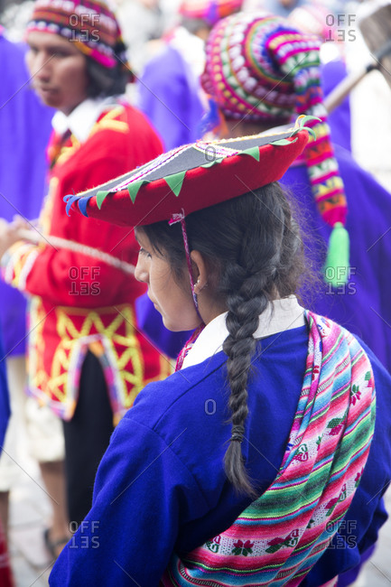 June 21, 2015: Young Peruvian woman in traditional clothing