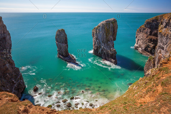 Stack Rocks, Castlemartin, Pembrokeshire Coast, Wales, United Kingdom, Europe