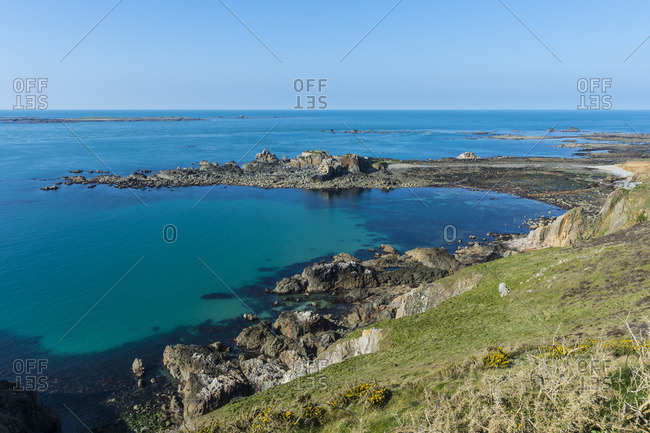 View over Fort Clonque, Alderney, Channel Islands, United Kingdom, Europe
