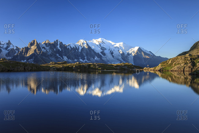 Mont Blanc, top of Europe, reflected during sunrise in Lac es Cheserys, Aiguilles Rouges Parc, Haute Savoie, French Alps, France, Europe