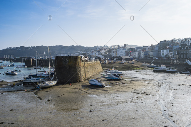 View over the sea front of Saint Peter Port, Guernsey, Channel Islands, United Kingdom, Europe