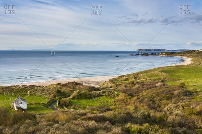 View over Whitepark Bay (White Park Bay), County Antrim, Ulster, Northern Ireland, United Kingdom, Europe