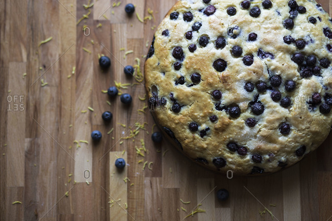 Blueberry cake on a wood table