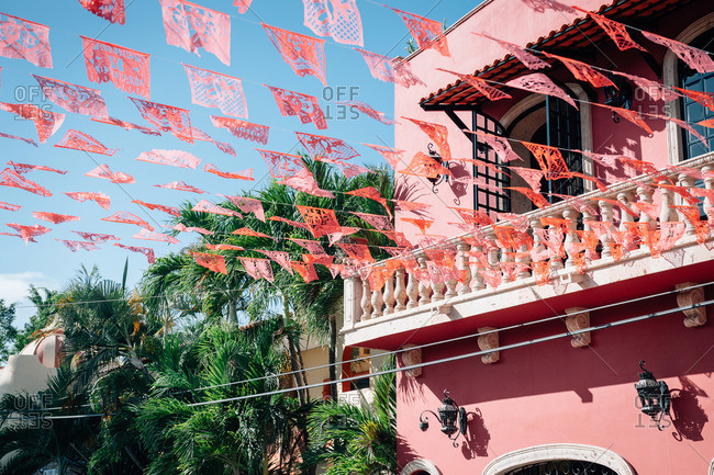 Picado banners attached to a balcony