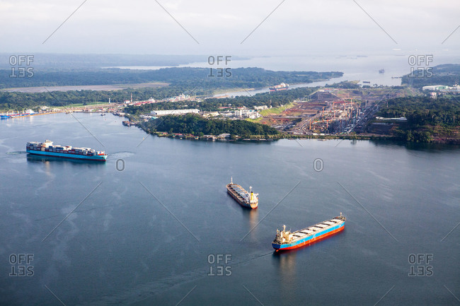 Barges carrying cargo arriving in port