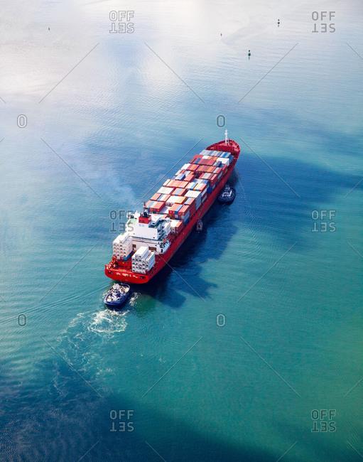 Cargo barge in transit