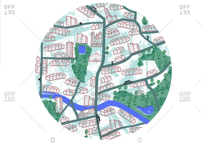 Map of the London borough of Hackney showing buildings, streets, parks and river