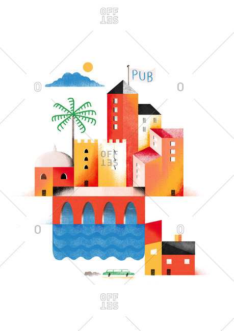 City scene with river, palm tree and a tower with Pub flag