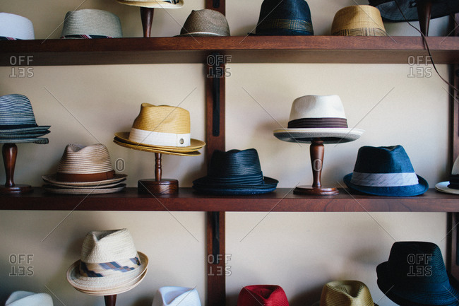Fedoras for sale at a hat shop in New Orleans, Louisiana