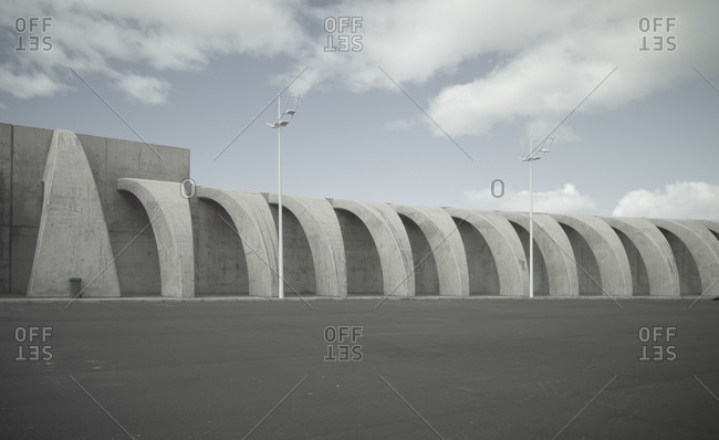 View of a concrete dam structure in the Tazacorte Harbor on La Palma, the most northern of the Canary Islands