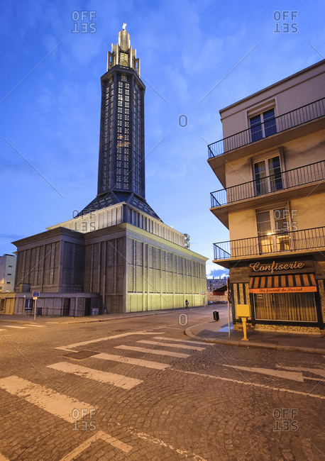 April 7, 2009 - Le Havre, France: Saint Joseph Church, designed by Auguste Perret, at night