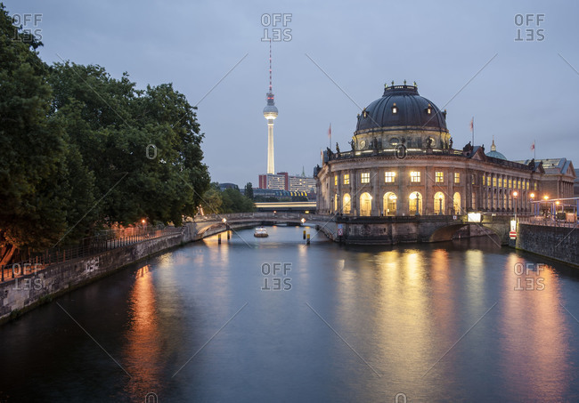 View of Museum Island and the Fernseheturm TV Tower in Berlin, Germany