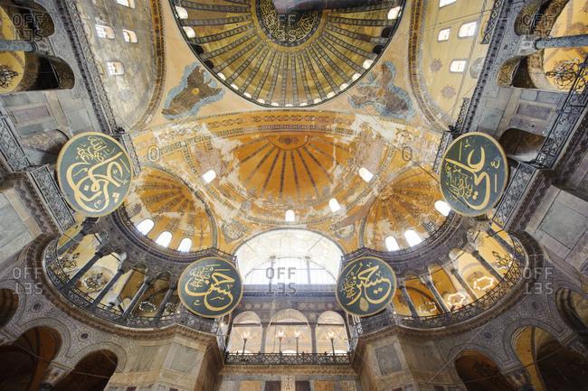 Interior of Hagia Sophia mosque in Istanbul, Turkey