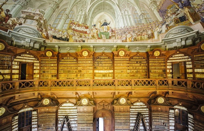 Trompe-l'oeil ceiling in the famous Diocesan Library and fresco in the Lyceum Eger, Hungary