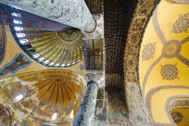 Ceiling of the Hagia Sophia mosque in Istanbul, Turkey