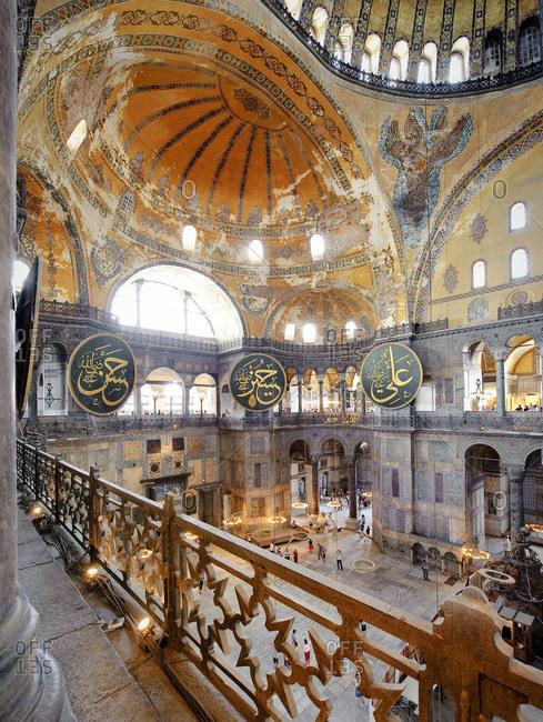 Inside of Hagia Sophia mosque in Istanbul, Turkey