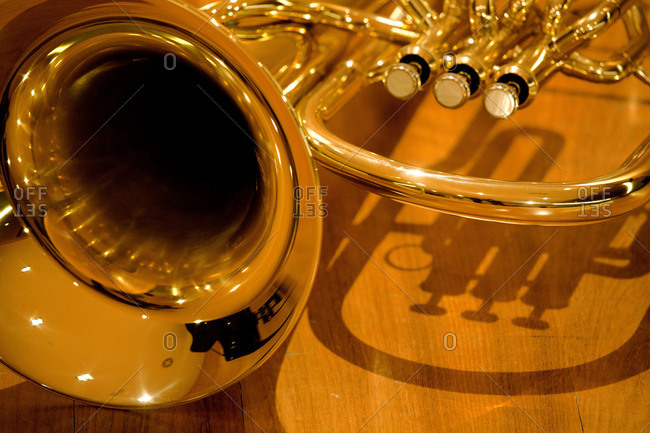 Close up of a French horn