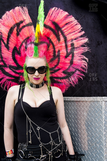 Brooklyn, New York, USA - June 7, 2015: A punk rocker with a colorful mohawk at the Bushwick Arts Fest