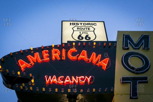 Tucumcari, New Mexico, USA - June 27, 2015: Vintage neon sign for the Americana Motel on U.S. Route 66
