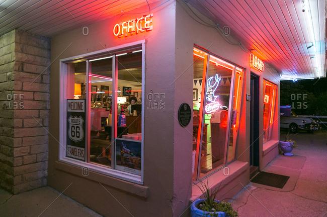 Tucumcari, New Mexico, USA - June 27, 2015: The Blue Swallow Motel office lobby