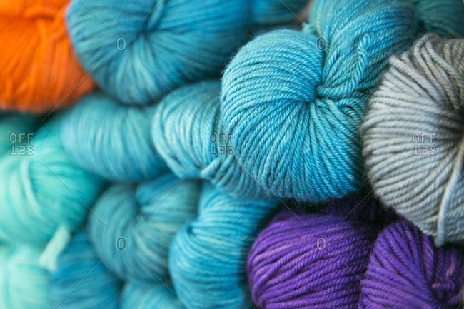 A close up of blue yarn