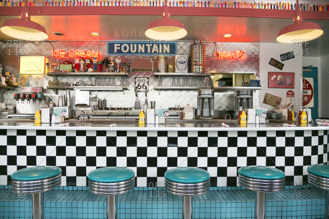 Albuquerque, New Mexico, USA - June 24, 2015: Route 66 Diner, on Central Ave, designed in the 1950's-style