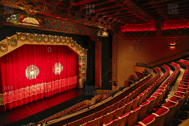 Albuquerque, New Mexico, USA - June 25, 2015: The red interior of Kimo Theater, Albuquerque