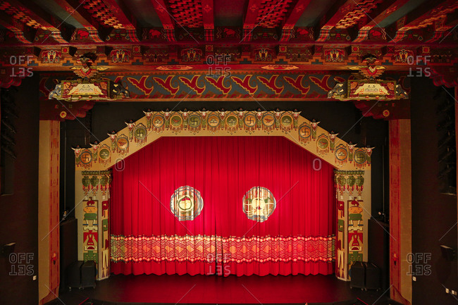Albuquerque, New Mexico, USA - June 25, 2015: The curtained stage of Kimo Theater