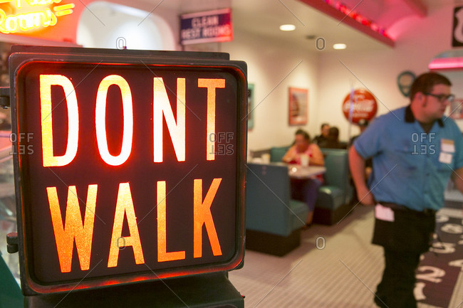 """Albuquerque, New Mexico, USA - June 25, 2015: """"Don't Walk"""" sign at the Route 66 Diner"""