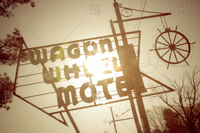 Cuba, Missouri, USA - April 10, 2015: Sign for the Wagon Wheel Motel