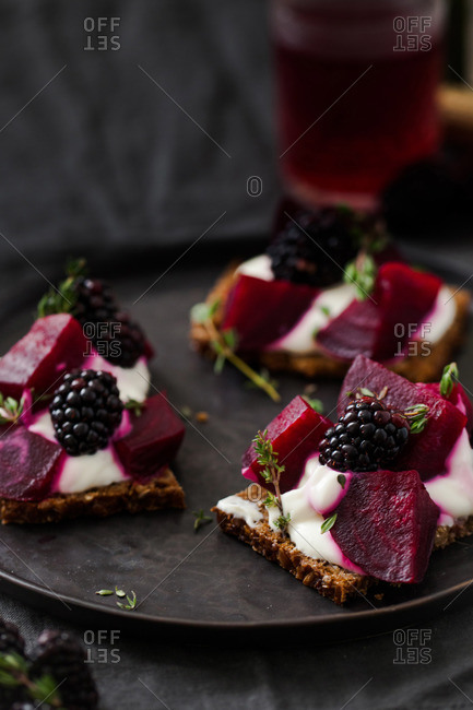 Beet and raspberry smorrebrod