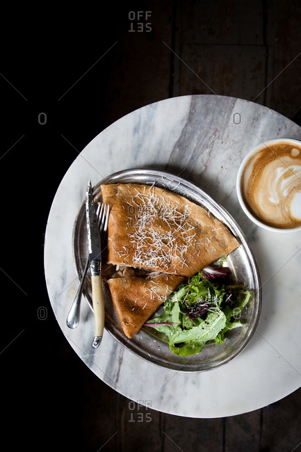 Crepe, salad and a latte
