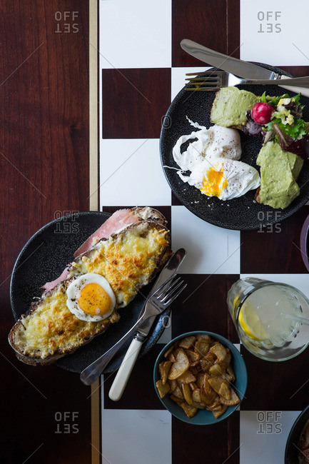 Breakfast spread with croque Madame