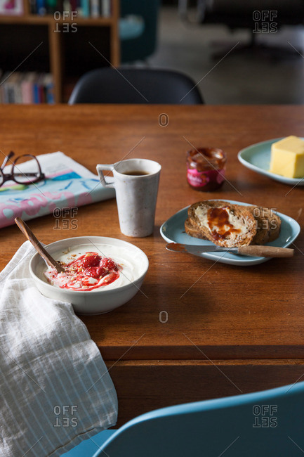 Icelandic breakfast with skyr and toast