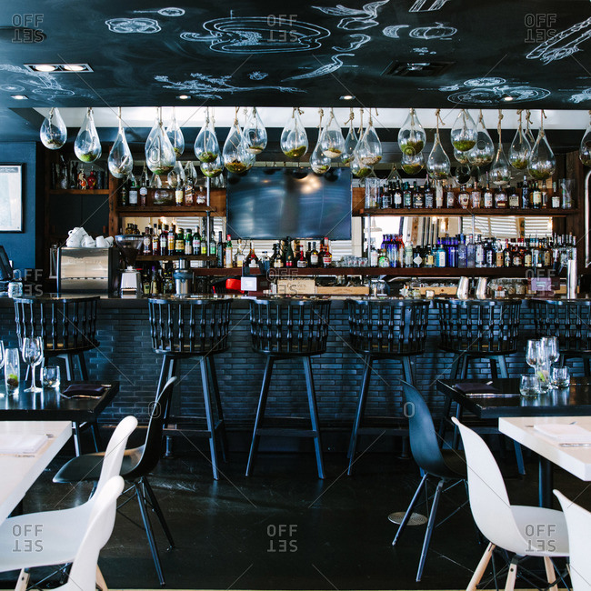 Alberta, Canada - January 29, 2015: Restaurant bar in Alberta, Canada
