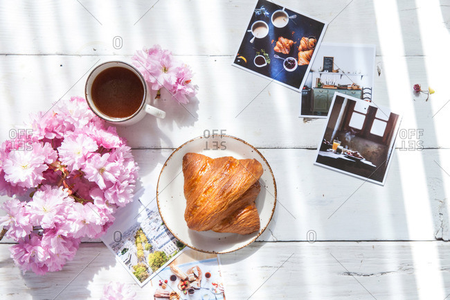 Croissant and coffee breakfast in spring