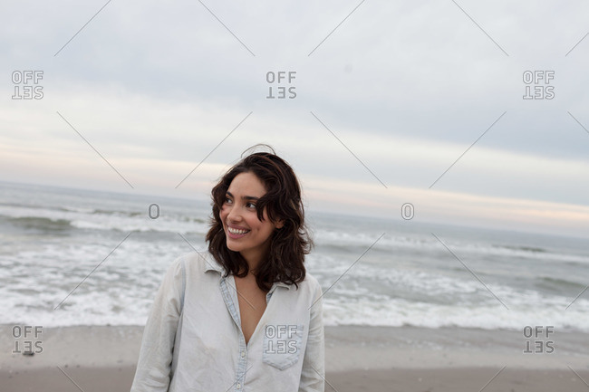 Young woman's portrait on a beach