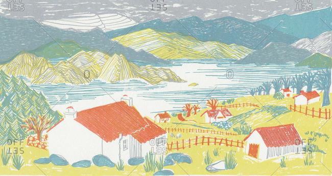 Farmhouses on a lake