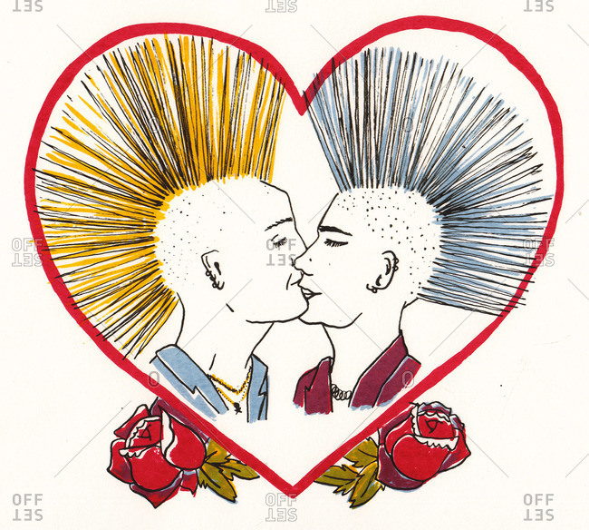 Two men with mohawks kissing